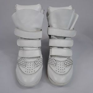 Isabel Marant Shoes - Isabel Marant Bekett high top wedge sneakers white